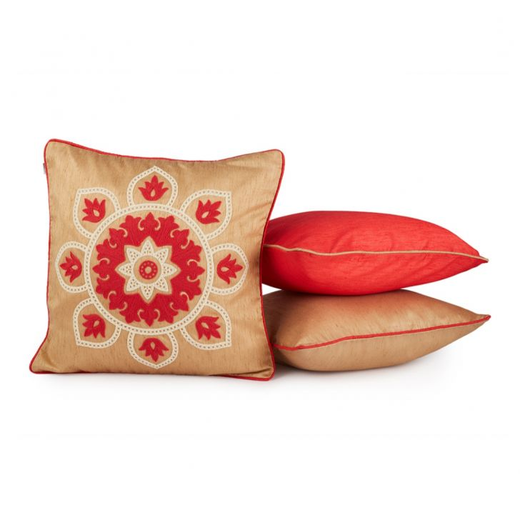 Fiesta Set Of 3 Cushion Covers Red Polyester Cushion Cover Sets in Red Colour by Living Essence