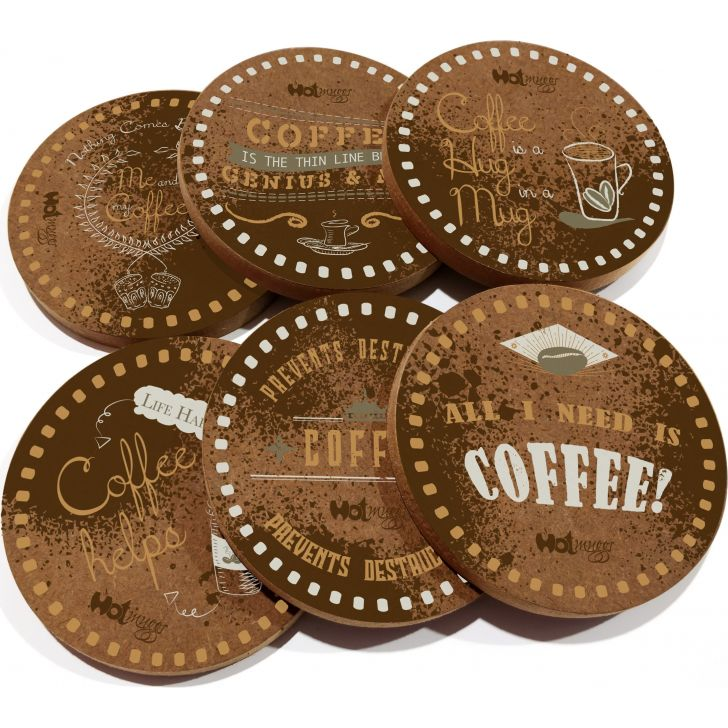Hot Muggs Wood Coasters Set Of 6 in Multicolor Colour by HotMuggs