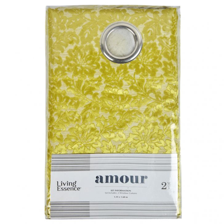 Amour Jacquard Polyester Window Curtains in Citron Colour by Living Essence