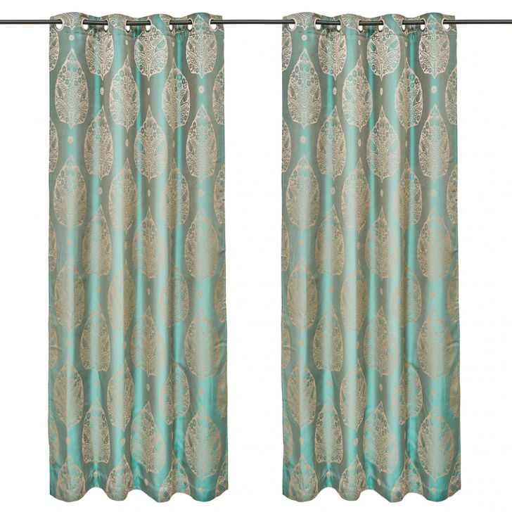 Emilia Jacquard Set of 2 Polyester Door Curtains in Turquoise Colour by Living Essence