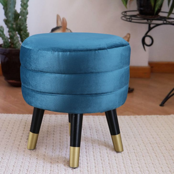 Crown Solid Wood Ottoman in Teal Colour by HomeTown