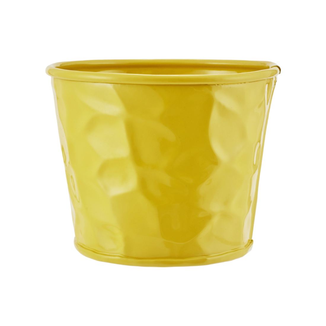 Aria Round Planter With Texture Yellow Metal Pots & Planters in Yellow Colour by Living Essence