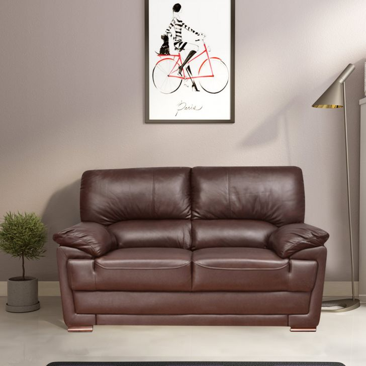 Eva Half Leather Two Seater Sofa in Brown Colour by HomeTown