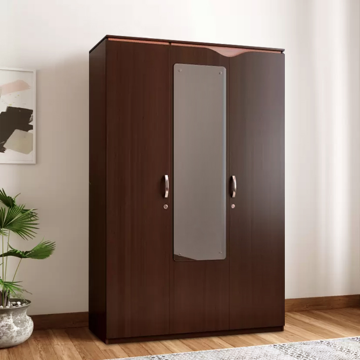 Swirl Engineered Wood Three Door Wardrobe in Wenge Colour by HomeTown