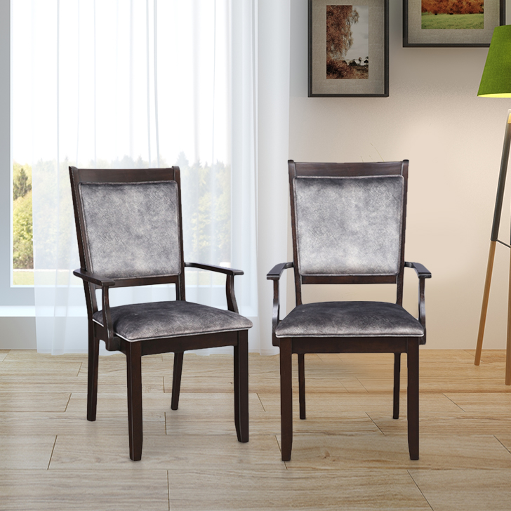 Madrid Solid Wood Dining Arm Chair Set of Two in Cappucino Colour by HomeTown
