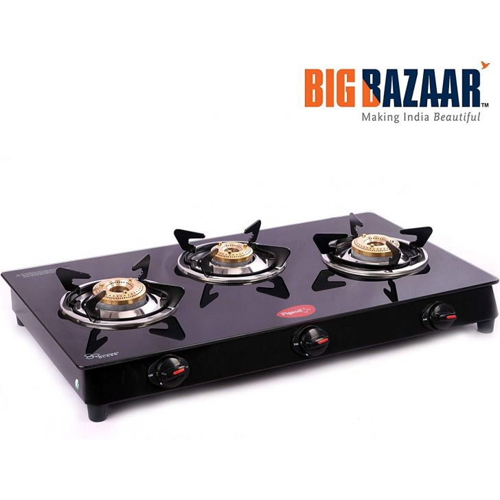 Pigeon Aster 3 Burner Stainless Steel  Glass Top Gas Stove - Black Stainless steel Gas Stoves in Black Colour by Pigeon
