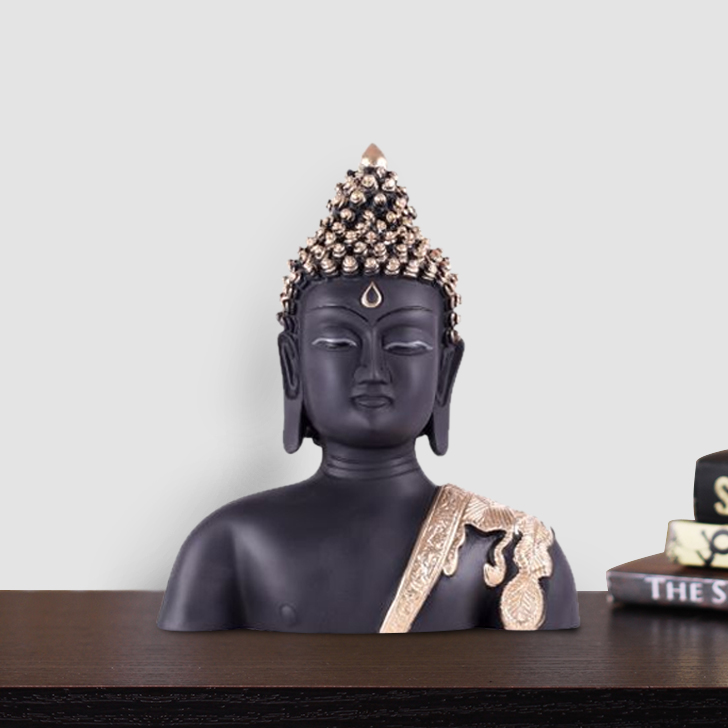 Naqsh Budha Bust Polyresin Idols in Black-Gold Colour by Living Essence