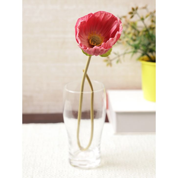 Elora Single Pink Poppy Polyester Artificial Flower 48cm in Pink Colour