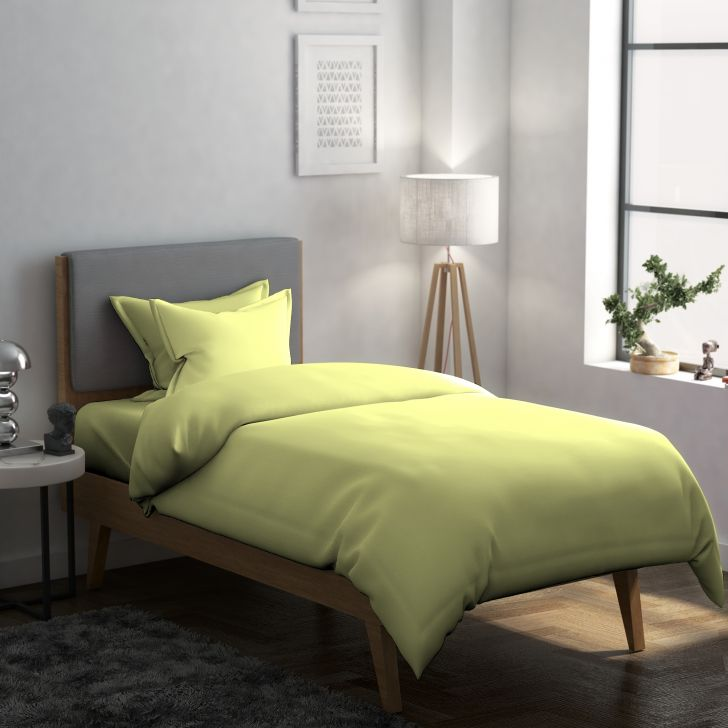 Solid Cotton Single Bedsheet in Green Colour by Dreamline