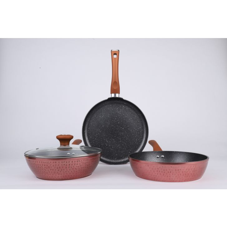 Vikas Khanna Die Cast Hammer 4pc cookwareset Aluminium cookware sets in Copper Colour by Bergner