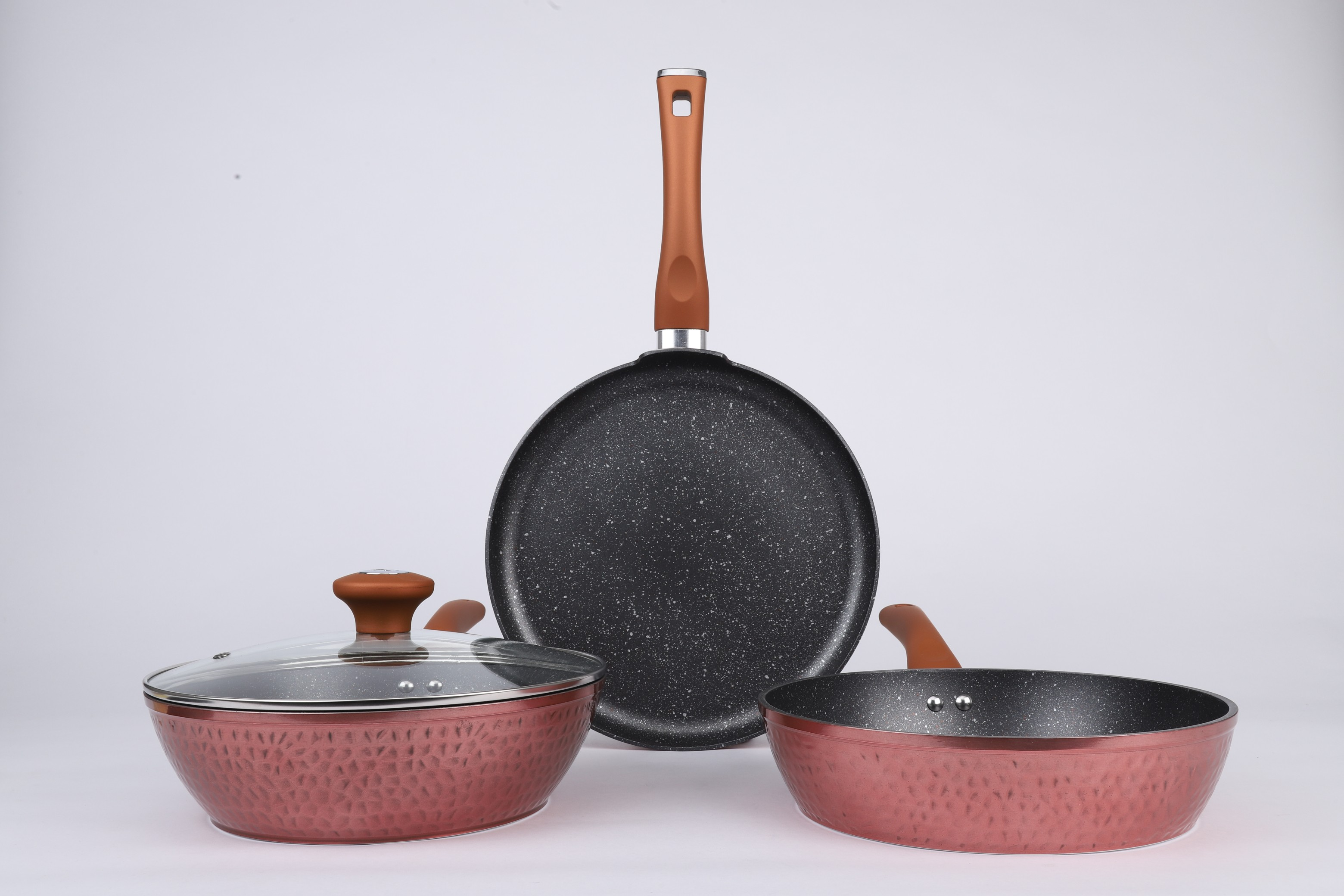 Vikas Khanna Die Cast Hammer 4pc cookwareset Stainless steel cookware sets in Copper Colour by Bergner
