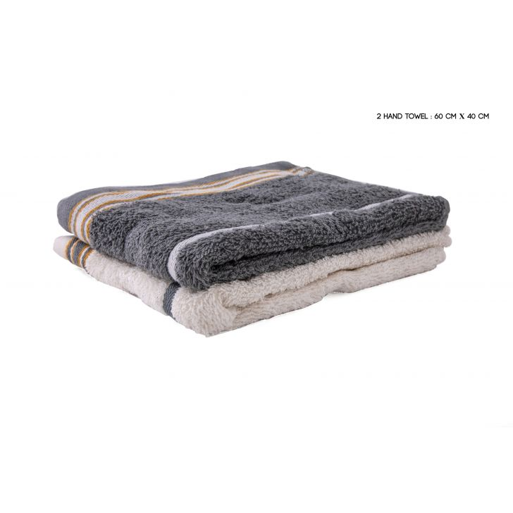Emilia Handtowel Set Of 2 Cotton Hand Towels in Off White & Grey Colour by HomeTown