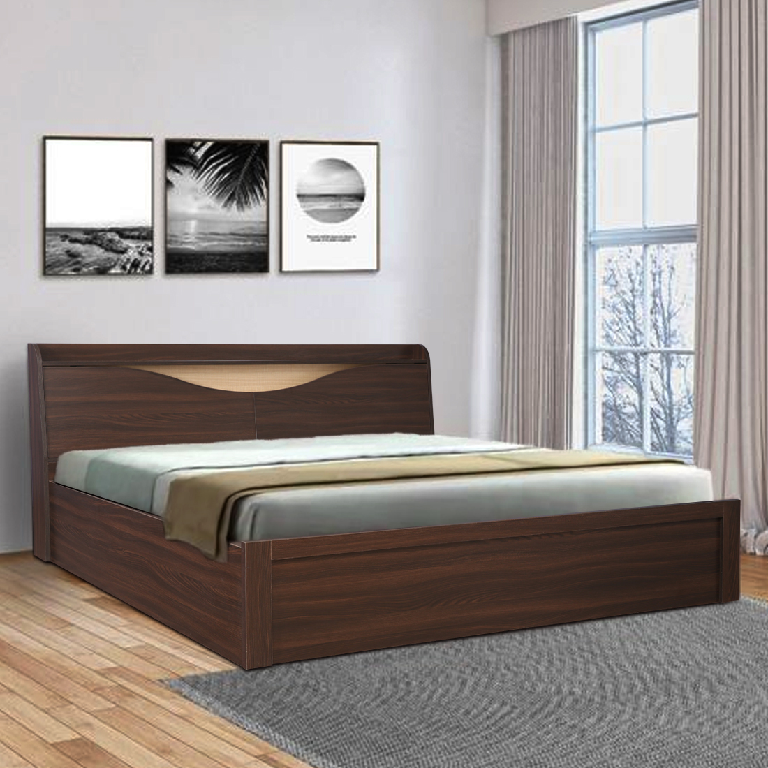 Magnolia Engineered Wood Hydraulic Storage King Size Bed in Oak Colour by HomeTown