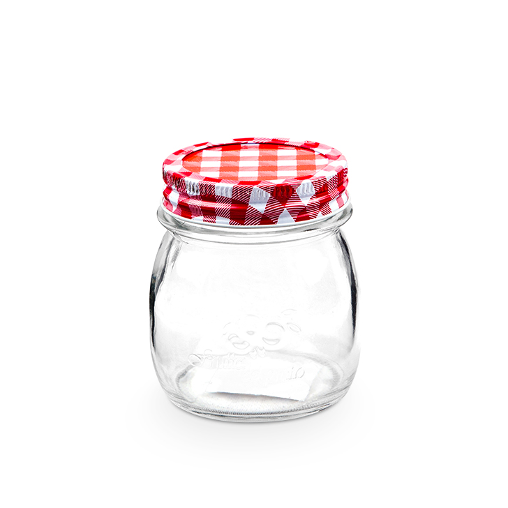 ZES Mason Jar With Checkered Lid 250 ml Glass Canisters & Jars in Multicolor Colour by Living Essence