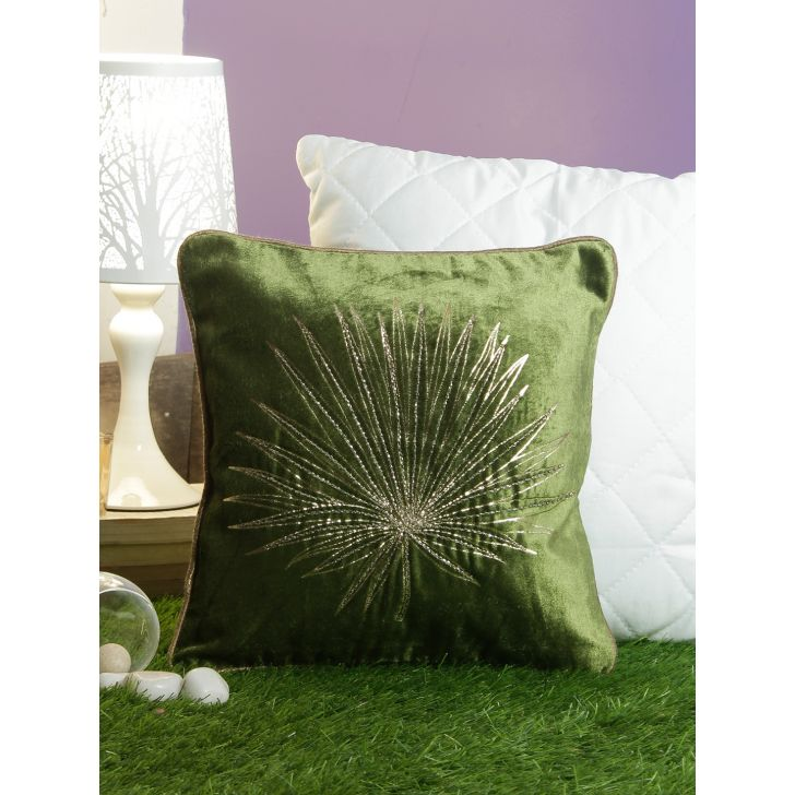 Golden Palm Cotton Cushion Covers in Green Colour by Living Essence