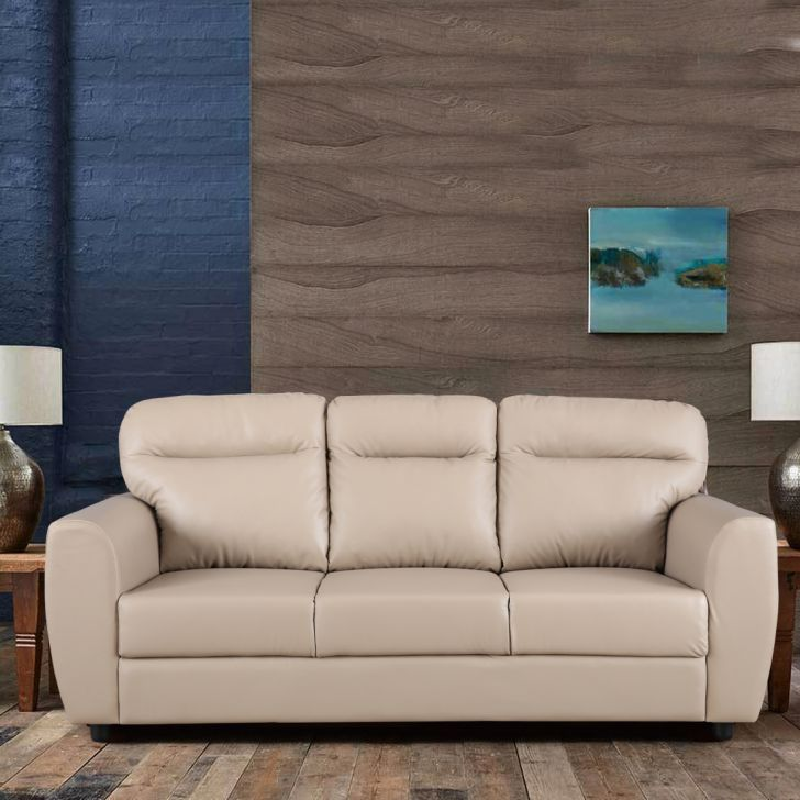 Chelsea Leatherette Three Seater Sofa in Butterscotch Colour by HomeTown