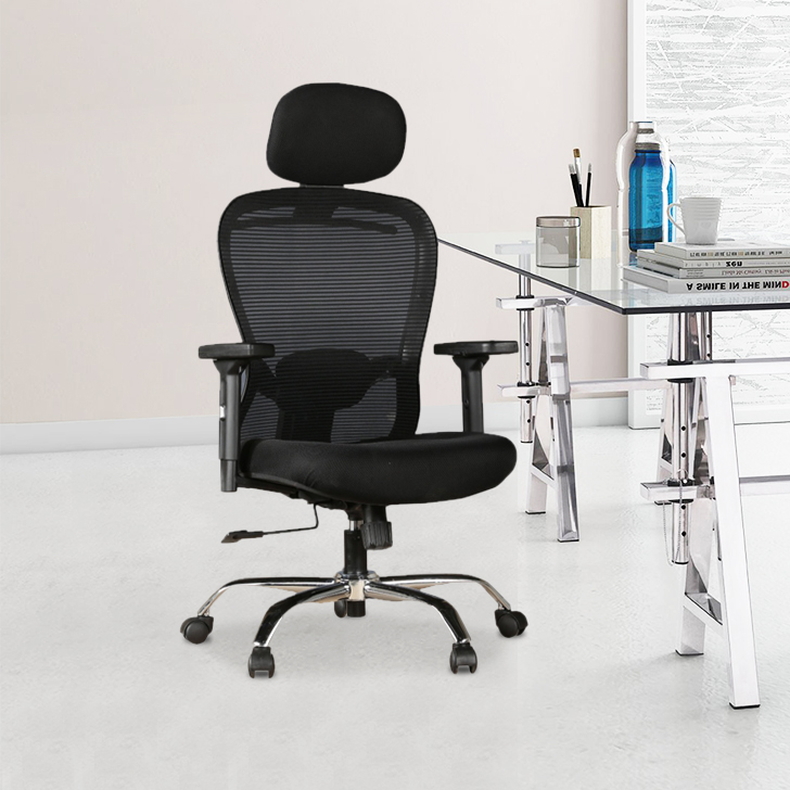 Paris Fabric Office Chair in Black Colour by HomeTown