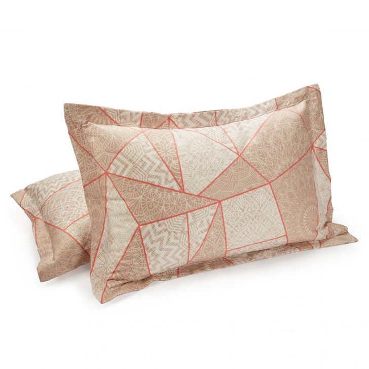 Set of 2 Pillow Cover Amour Patch Beige Cotton Pillow Covers in Cotton Colour by Living Essence