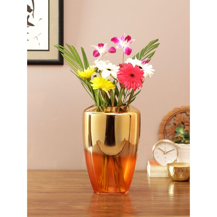 Eva 2 Tone Glass Vase Orange Gold Glass Vases in Orange Gold Colour by Living Essence