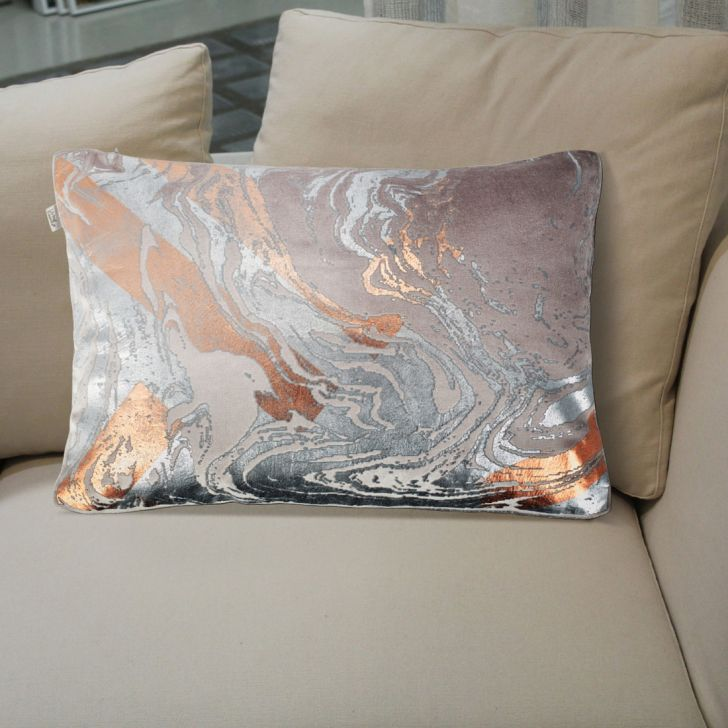 Marble Cotton Cushion Covers in Grey Colour by Living Essence