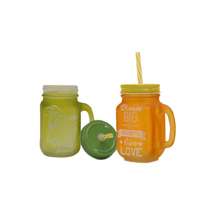 Quoted Mason Jars Set Of 2 Lime & Yellow Glass Mason Jars in Green & Yellow Colour by Living Essence