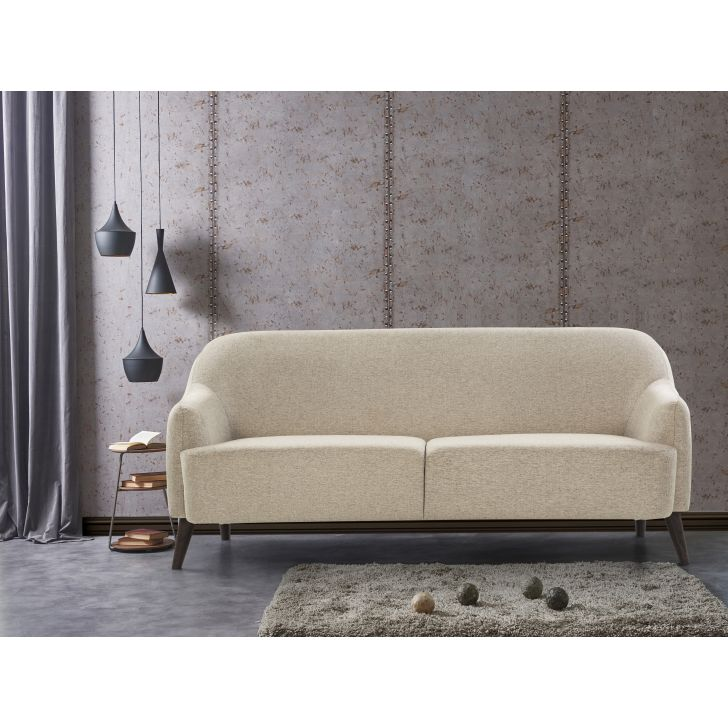 Brooke Solid Wood Three Seater Sofa in Beige Colour