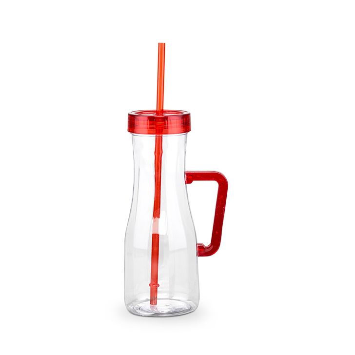 Juice Sipper 600 ml Plastic Bottles in Red And Clear Colour by Living Essence