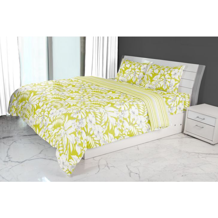 Emilia Double Comforter Lime Cotton Comforters in Lime Colour by Living Essence