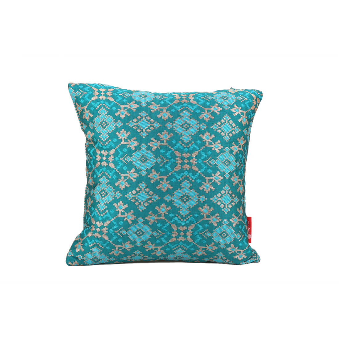 Patola Teal Polyester Cushion Covers in Teal Colour by Living Essence