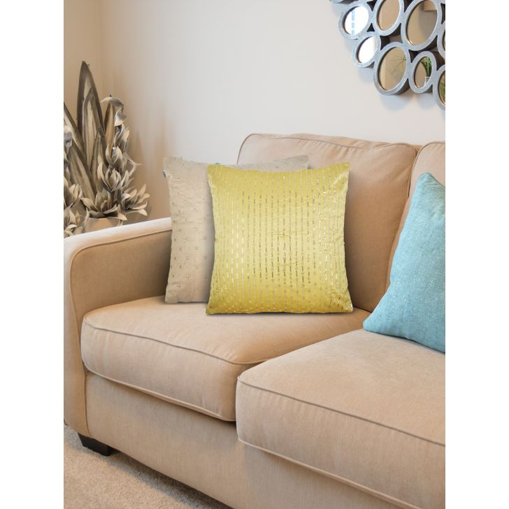 Set of 2 Polyester Cushion Covers in Citron Beige Colour by Living Essence