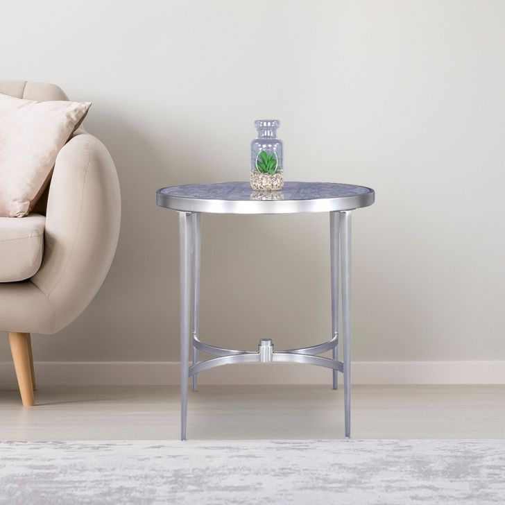 Aldwych Glass Top Side Table in Brushed Steel Colour