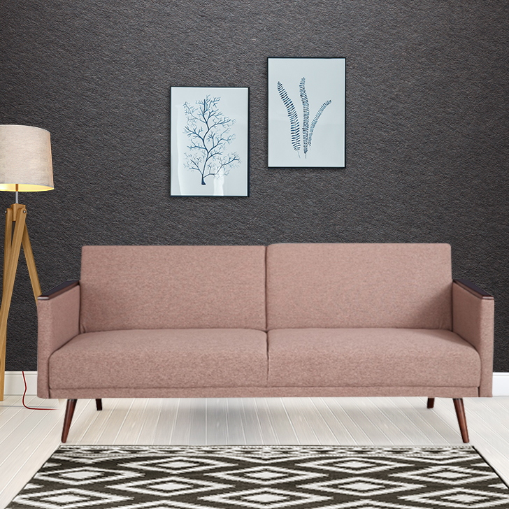 Walter Fabric Sofa Cum Bed in Beige Colour by HomeTown