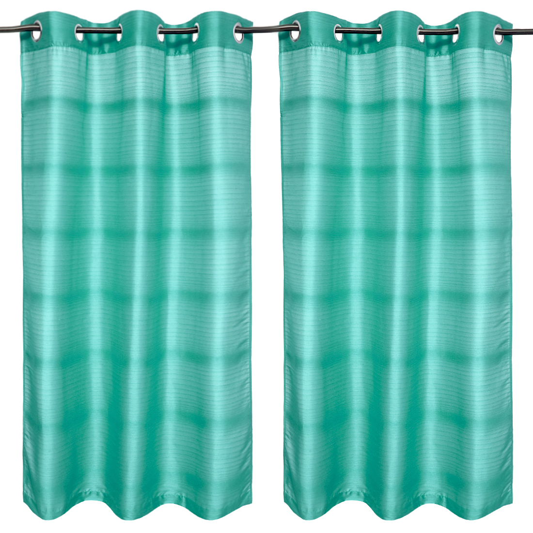 Fiesta Solid set of 2 Polyester Window Curtains in Turquoise Colour by Living Essence