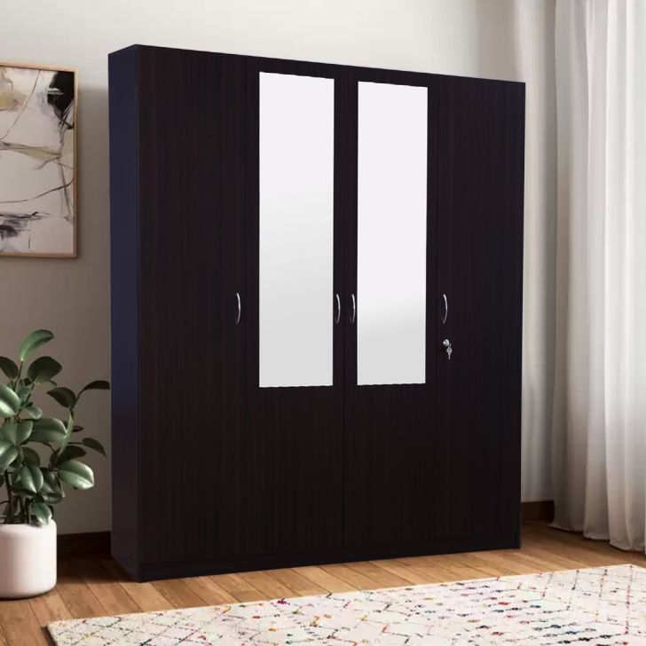 Allen Engineered Wood Four Door Wardrobe in Wenge Colour by HomeTown
