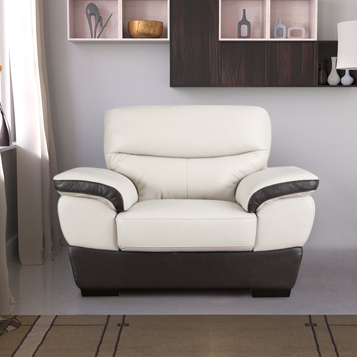 Denzel Half Leather Single Seater sofa in Beige & Brown Colour by HomeTown