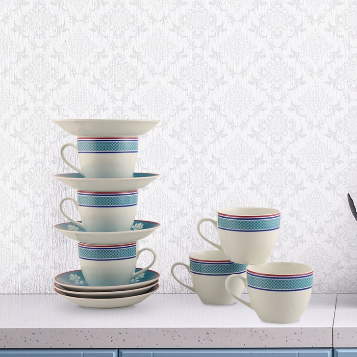 Vrindavan Set Of 12 Cup & Saucer Ceramic Cups & Saucers in Blue And Pink And White Colour by Living Essence