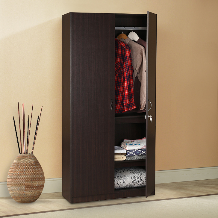 Zina Engineered Wood Two Door Wardrobe in Walnut Colour by HomeTown