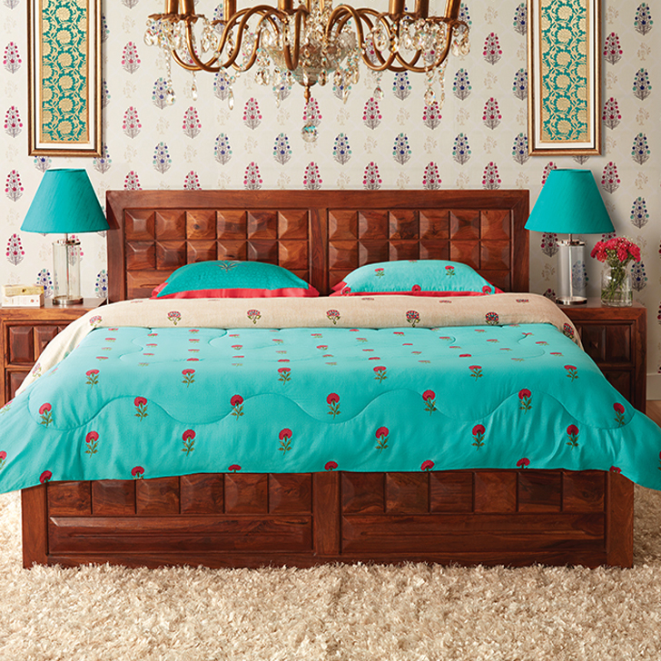 Woodrow Solid Wood Hydraulic Storage Queen Size Bed in Honey Colour by HomeTown