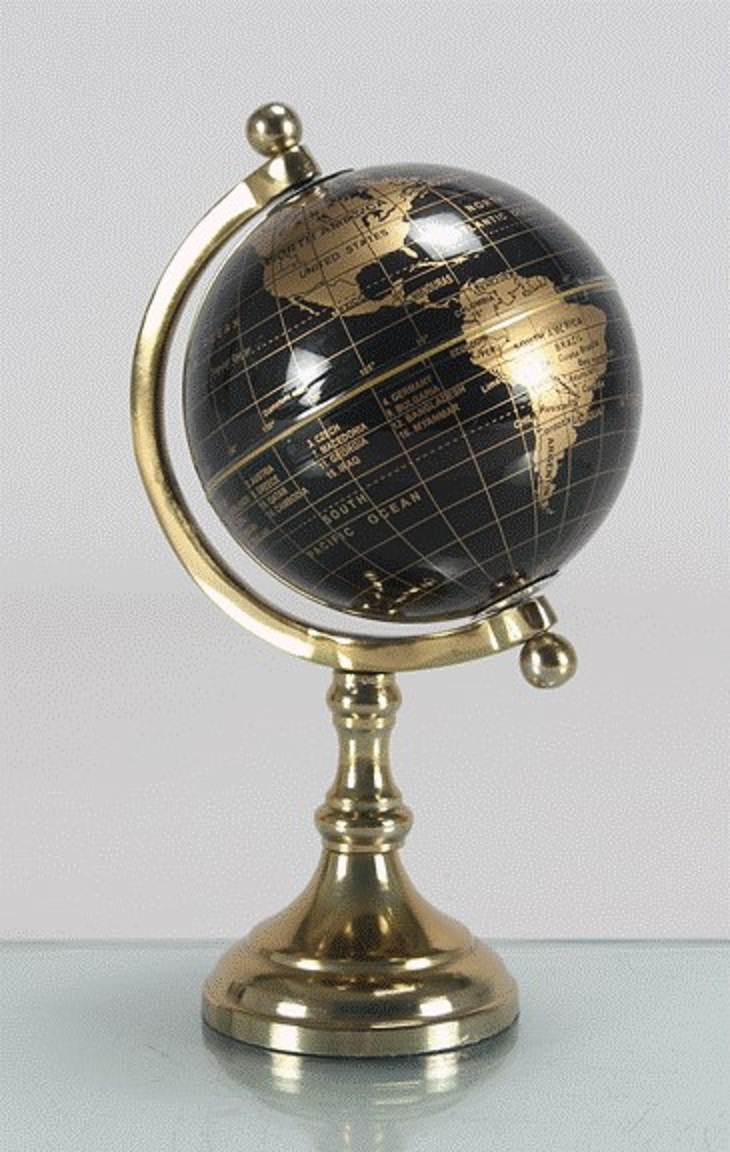 Globe 5 Inches Diametre Table D in Black-Gold Colour by Living Essence