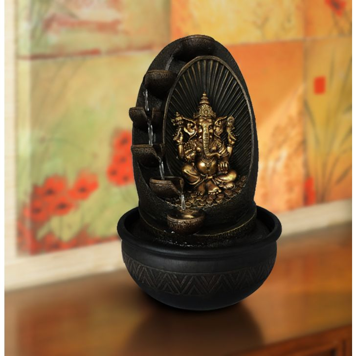 Ganesha Polyresin Small Fountains in Gold And Brown Colour by HomeTown