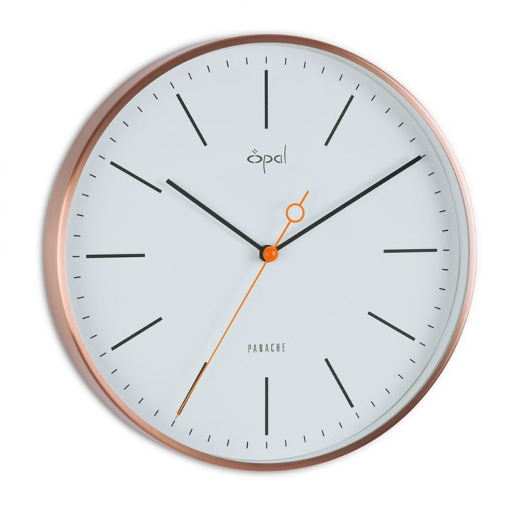 Opal White Clock With Shiny Copper Frame