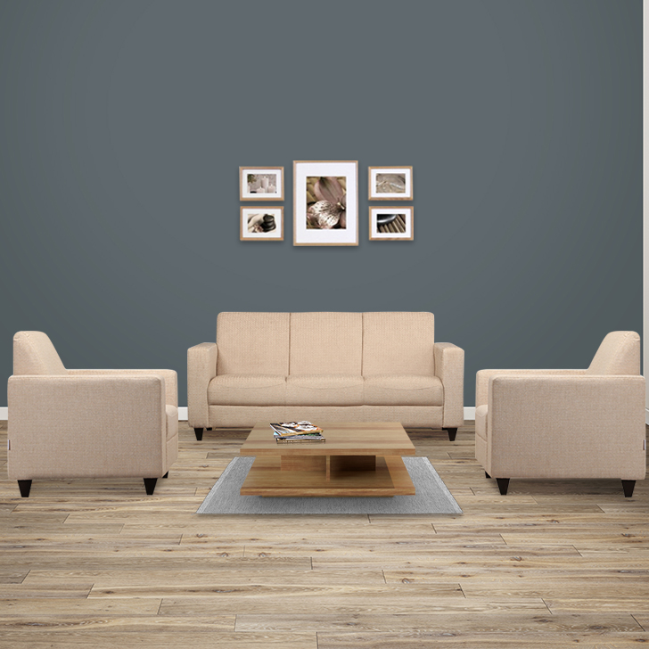 Xavier Fabric Sofa Set in Beige Colour by HomeTown