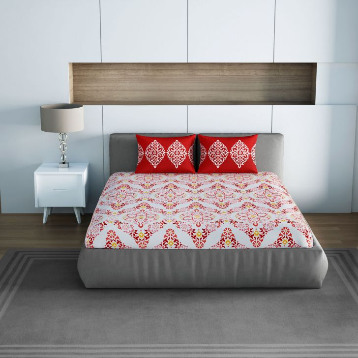 Spaces Allure Red 1N Double Bed Sheet