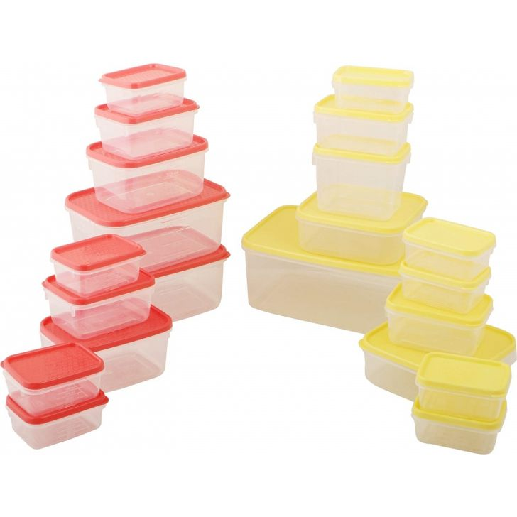 Storage Container Set - 21 Pieces (Red & Yellow) Plastic in Multi Colour by All Time