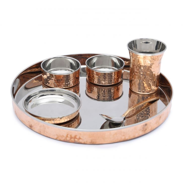 Sapphire Traditional Hammered Thali Set of 6 in Copper Colour