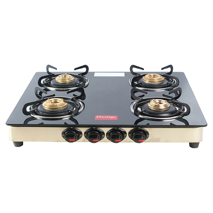 Prestige 4 Burner Marvel Glass Top Gas Stove Stainless steel Cooktops in Multicolor Colour by Prestige