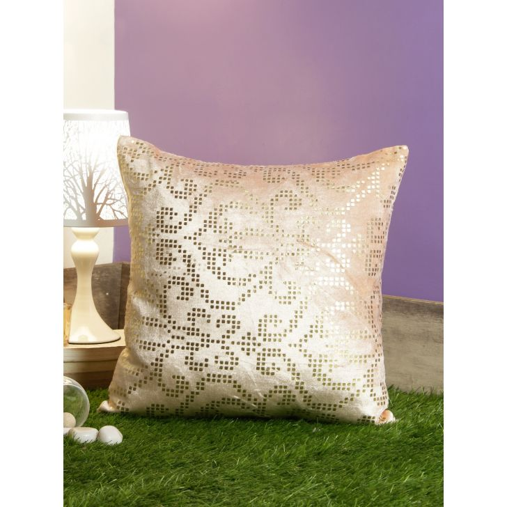 Pixel Damask Velvet Cushion Covers in Blush Colour by Living Essence