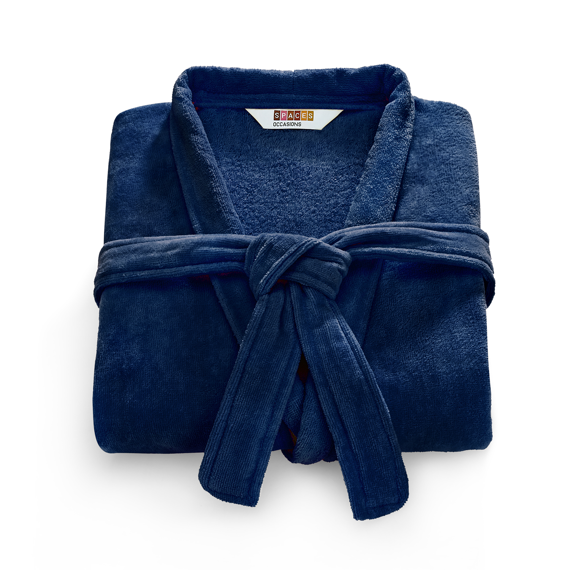 Spaces Allure Cotton Bath Robes in Estate Blue-Fire Colour by Spaces
