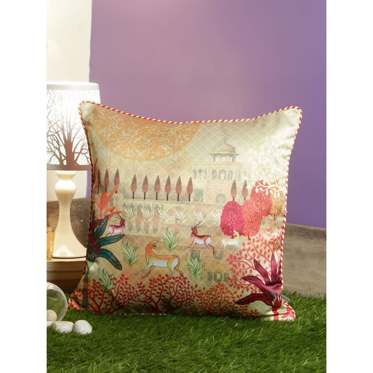 Digi Deer Polyester Cushion Covers in Beige Colour by Living Essence