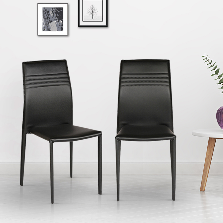 Presto Fabric & Leatherette Dining Chair Set of Two in Black Colour by HomeTown